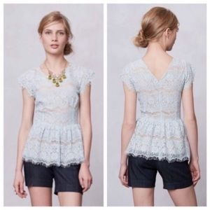 Anthro l Maeve Katrine Lace Peplum Top